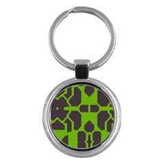 Brown green shapes Key Chain (Round)