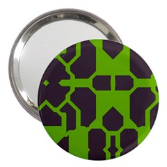 Brown green shapes 3  Handbag Mirror