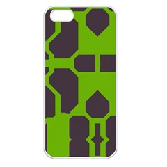 Brown green shapes Apple iPhone 5 Seamless Case (White)
