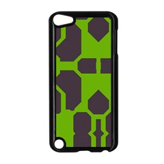 Brown green shapes Apple iPod Touch 5 Case (Black)