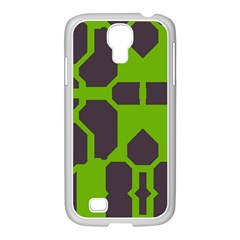 Brown green shapes Samsung GALAXY S4 I9500/ I9505 Case (White)