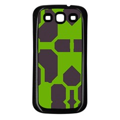 Brown green shapes Samsung Galaxy S3 Back Case (Black)