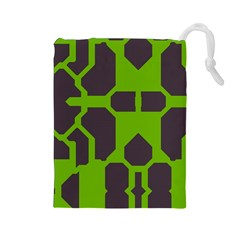 Brown green shapes Drawstring Pouch
