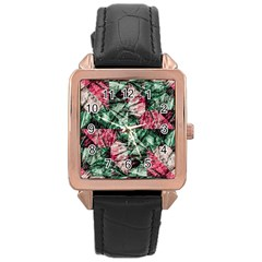 Luxury Grunge Digital Pattern Rose Gold Watches