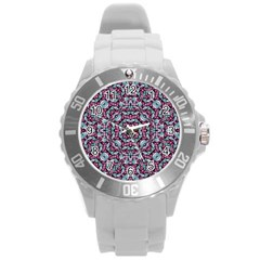 Luxury Grunge Digital Pattern Round Plastic Sport Watch (L)