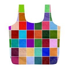 Multi Colour Squares Pattern Full Print Recycle Bags (L)