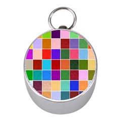 Multi Colour Squares Pattern Mini Silver Compasses