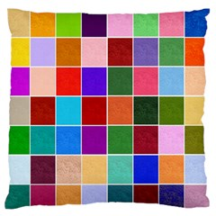 Multi Colour Squares Pattern Large Flano Cushion Cases (One Side)