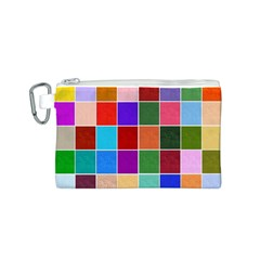 Multi Colour Squares Pattern Canvas Cosmetic Bag (S)