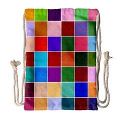 Multi Colour Squares Pattern Drawstring Bag (Large)
