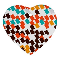 Rectangles On A White Background Heart Ornament (two Sides)