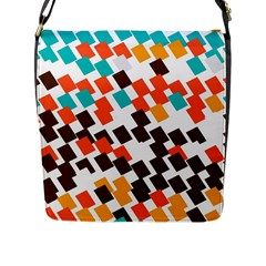 Rectangles on a white background Flap Closure Messenger Bag (L)