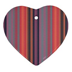 Triangles And Stripes Pattern Ornament (heart)