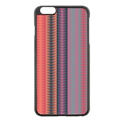 Triangles And Stripes Pattern Apple Iphone 6 Plus Black Enamel Case