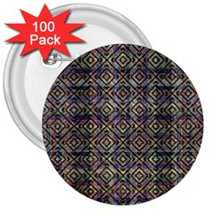 Multicolored Ethnic Check Seamless Pattern 3  Buttons (100 pack)