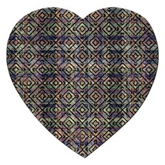 Multicolored Ethnic Check Seamless Pattern Jigsaw Puzzle (Heart)
