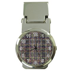 Multicolored Ethnic Check Seamless Pattern Money Clip Watches