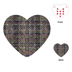 Multicolored Ethnic Check Seamless Pattern Playing Cards (heart)