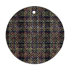 Multicolored Ethnic Check Seamless Pattern Round Ornament (Two Sides)