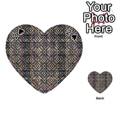 Multicolored Ethnic Check Seamless Pattern Playing Cards 54 (Heart)