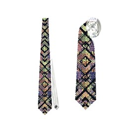 Multicolored Ethnic Check Seamless Pattern Neckties (Two Side)