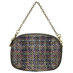 Multicolored Ethnic Check Seamless Pattern Chain Purses (One Side)
