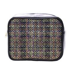 Multicolored Ethnic Check Seamless Pattern Mini Toiletries Bags