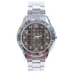 Multicolored Ethnic Check Seamless Pattern Stainless Steel Men s Watch