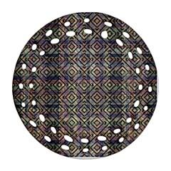 Multicolored Ethnic Check Seamless Pattern Ornament (round Filigree)
