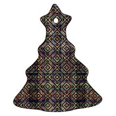 Multicolored Ethnic Check Seamless Pattern Christmas Tree Ornament (2 Sides)