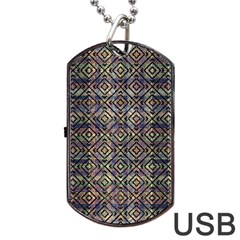 Multicolored Ethnic Check Seamless Pattern Dog Tag USB Flash (One Side)