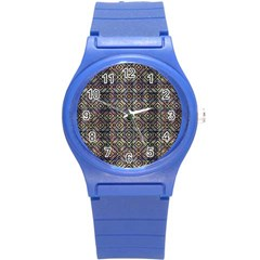 Multicolored Ethnic Check Seamless Pattern Round Plastic Sport Watch (S)