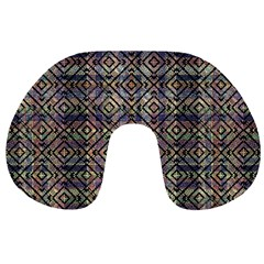 Multicolored Ethnic Check Seamless Pattern Travel Neck Pillows