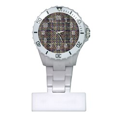 Multicolored Ethnic Check Seamless Pattern Nurses Watches