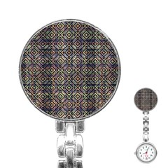 Multicolored Ethnic Check Seamless Pattern Stainless Steel Nurses Watches