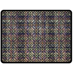 Multicolored Ethnic Check Seamless Pattern Double Sided Fleece Blanket (Large)
