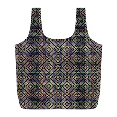 Multicolored Ethnic Check Seamless Pattern Full Print Recycle Bags (l)