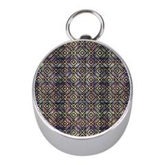 Multicolored Ethnic Check Seamless Pattern Mini Silver Compasses