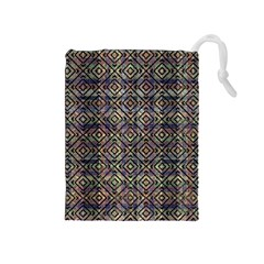 Multicolored Ethnic Check Seamless Pattern Drawstring Pouches (Medium)