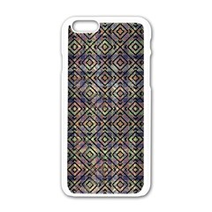 Multicolored Ethnic Check Seamless Pattern Apple Iphone 6/6s White Enamel Case