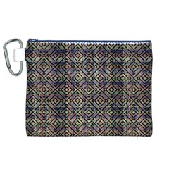 Multicolored Ethnic Check Seamless Pattern Canvas Cosmetic Bag (XL)