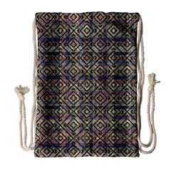 Multicolored Ethnic Check Seamless Pattern Drawstring Bag (large)