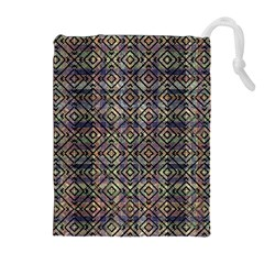 Multicolored Ethnic Check Seamless Pattern Drawstring Pouch (XL)