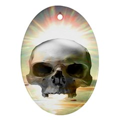 Skull Sunset Oval Ornament (two Sides)