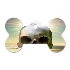 Skull Sunset Dog Tag Bone (two Sides)