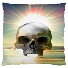 Skull Sunset Large Flano Cushion Cases (one Side)