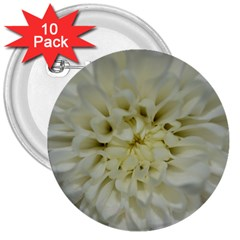 White Flowers 3  Buttons (10 pack)