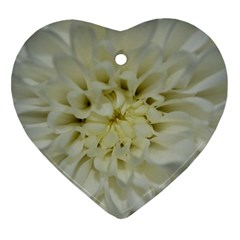 White Flowers Heart Ornament (2 Sides)