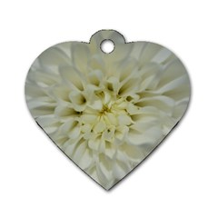 White Flowers Dog Tag Heart (One Side)