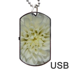 White Flowers Dog Tag Usb Flash (two Sides)